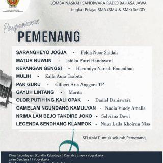 10 Pemenang Lomba Penulisan Naskah Sandiwara Radio Bahasa Jawa SLTA DIY
