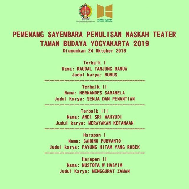 Pemenang Sayembara Penulisan Naskah Teater Taman Budaya Yogyakarta