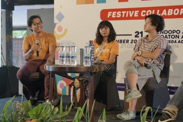 Creative Sharing Heri Pemad-Kamila Andini-Ria Papermoon-Ari Wulu-JFFE-Jogja Festivals Forum dan Expo