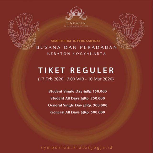 Tiket Reguler Simposium Internasional Busana dan Peradaban Keraton Yogyakarta