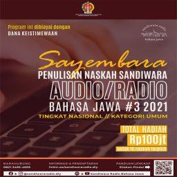 Sayembara Sandiwara Audio-Radio Bahasa Jawa Tahun 2021 Kategori Umum